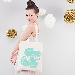 'Bridesmaid' Tote Bag - mint, blush & gold