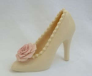 Chocolate Wedding Shoe With Personalised Rose - chocolates & confectionery