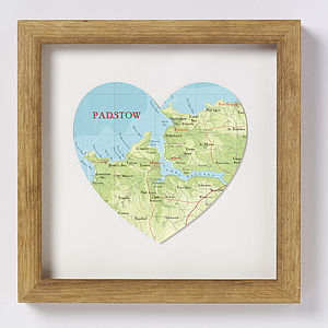 Padstow Map Heart Print