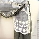 Chiffon Grey And Cream Crochet Scarf