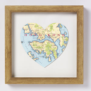 Hong Kong Map Heart Print
