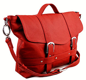 Handcrafted Red Leather Midi Satchel