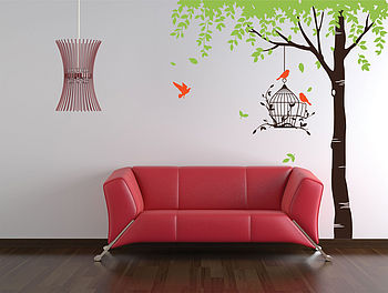 Summer Tree With Bird Cage Wall Stickers