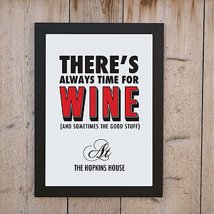 'Always Time For Red Wine' Print - posters & prints