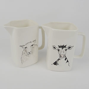 Personalised Hand Painted Cow Or Sheep Jug