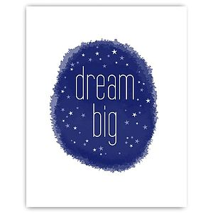 'Dream Big' Nursery Print Navy - pictures & prints for children