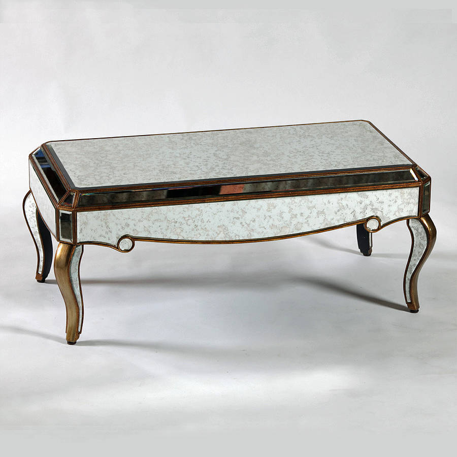 Antique venetian mirrored coffee table in two finishes by out there interiors Coffee table antique