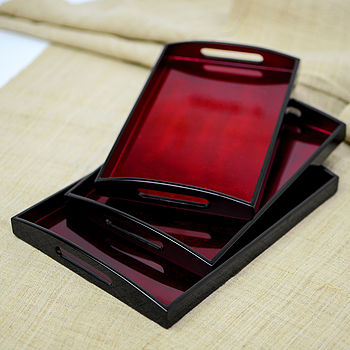 Set Of Three Lacquer Trays, Cherry Silverleaf & Black