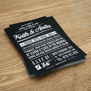 Rock N Roll Vintage Type Wedding Invitation - wedding stationery