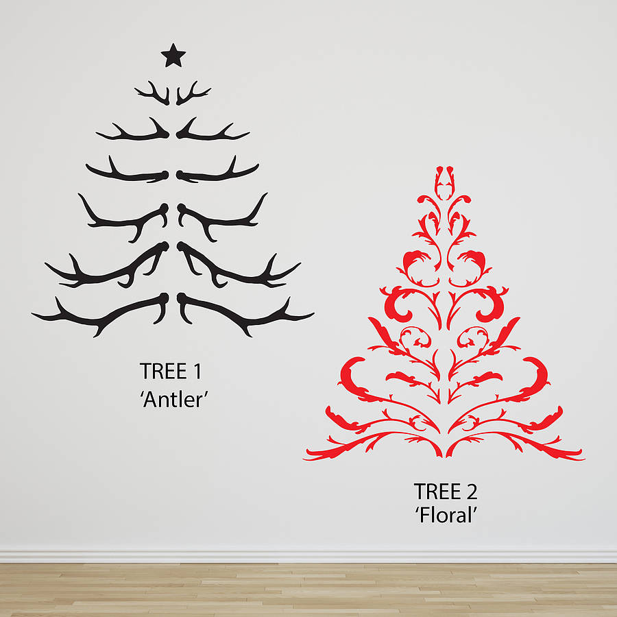 Antler christmas tree wall sticker by oakdene designs for Christmas wall mural plastic
