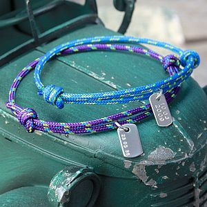 Personalised Men's Cord With Date Bracelet