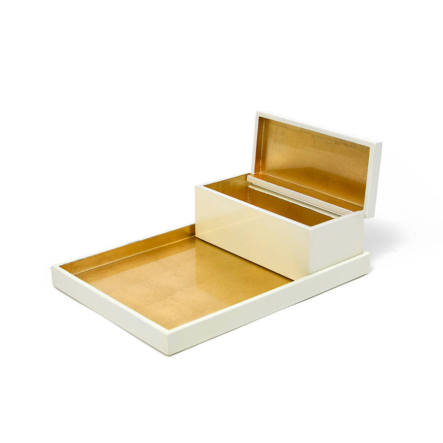 Lacquer vanity tray and box set by nom living for Bathroom tray set