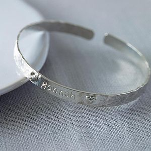 Personalised Sterling Silver Christening Bangle - naming day celebration gifts
