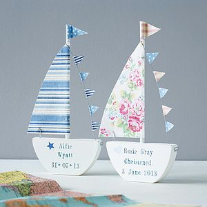 Personalised Sailing Boat Keepsake - christening gifts
