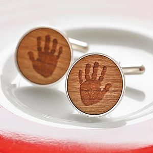 Personalised Wooden Handprint Cufflinks - gifts for new parents