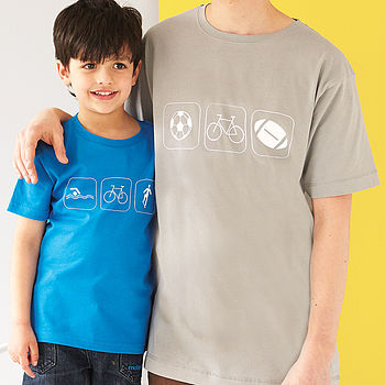 Personalised Dad And Child Hobbies T Shirts