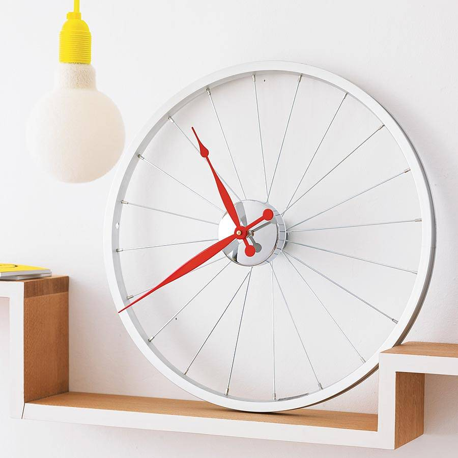 Clock made from a bike wheel