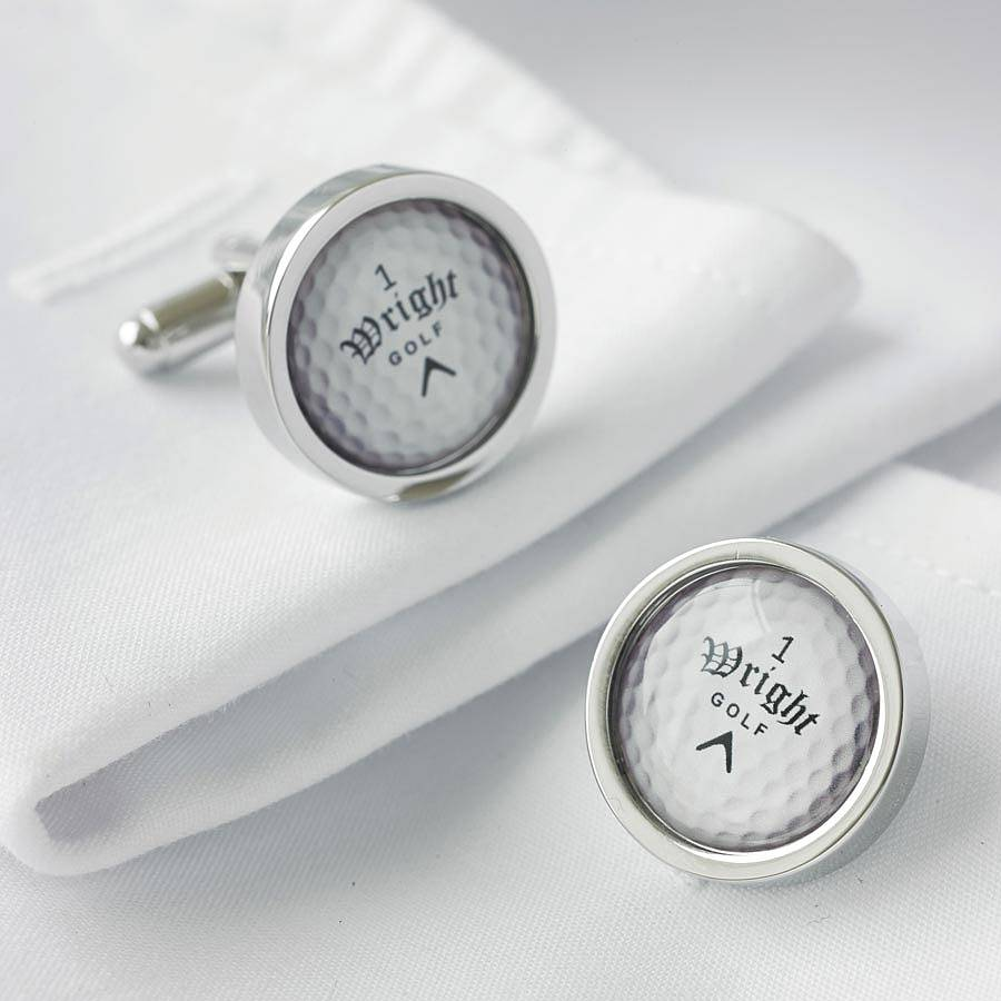Personalised golf ball cufflinks by me and my sport for Golf buflings