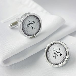 Personalised Golf Ball Cufflinks - men's jewellery