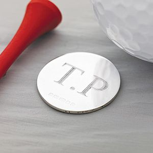 Silver Golf Ball Marker - 60th birthday gifts