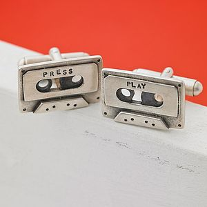 Personalised Silver Cassette Tape Cufflinks - music