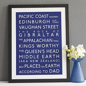 Personalised Classic Destination Print - gifts for fathers