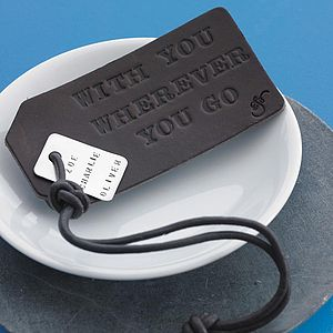 Personalised Leather Luggage Tag - traveller