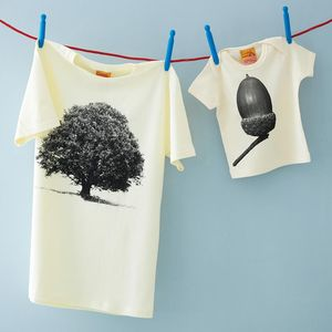 Set Of Oak And Acorn Dad And Child T Shirts - from the little ones