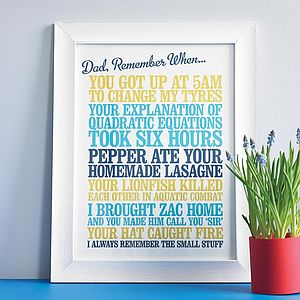Personalised 'Remember When' Print - from older children
