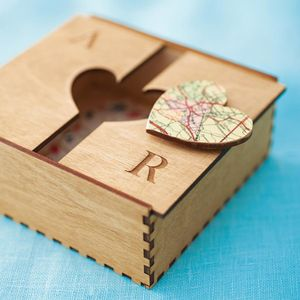 Bespoke Wooden Map Heart Box - for him