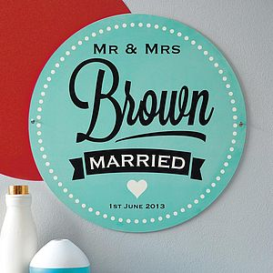 Personalised Enamel Wedding Sign - wedding gifts