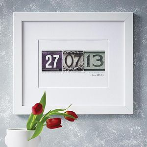 Personalised Date Art Print - anniversary prints