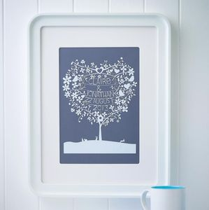 Personalised Heart Tree Papercut - gifts for families
