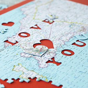 Personalised Location 'Love You' Map Jigsaw - by year