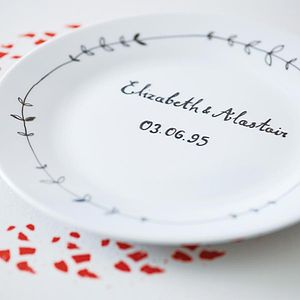Personalised Hand Illustrated Wedding Plate - anniversary gifts
