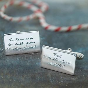 Personalised Engraved Message Cufflinks - men's jewellery