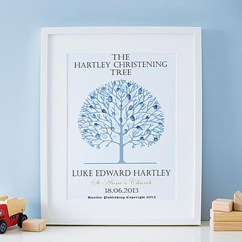 Personalised Christening Tree Print