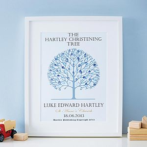 Personalised Christening Tree Print - baby's room