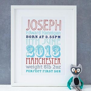 Personalised Birth Date Print - baby's first Christmas