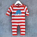 Personalised Dinosaur Babygrow red/blue stripes