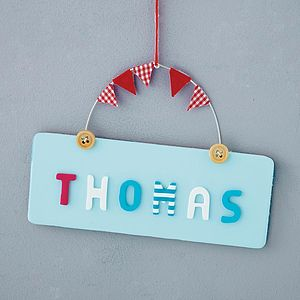 Personalised Wooden Button Door Plaque - baby & child