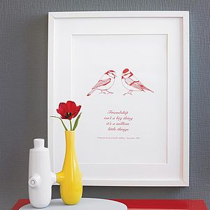 Personalised Friendship Bird Print - pictures, prints & paintings
