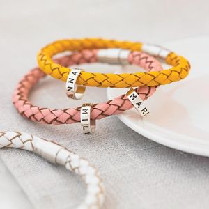 Personalised Leather Hoops Bracelet - gifts for her