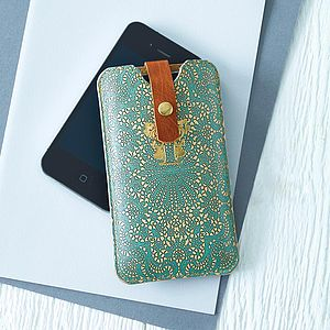 Printed Lace Leather Phone Case - gifts for her