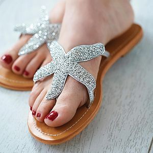 Beaded Starfish Sandals - sandals
