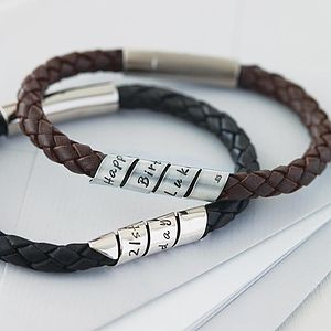 Personalised Open Scroll Mens Leather Bracelet - gifts for him
