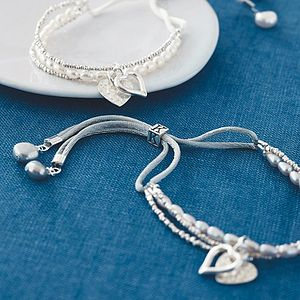Silver Pearl Initial Friendship Bracelet - for her