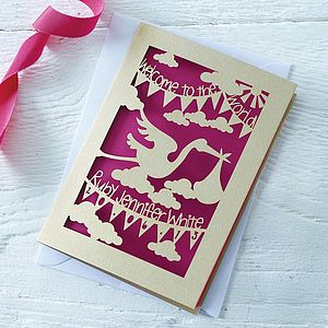 Personalised New Baby Papercut Card
