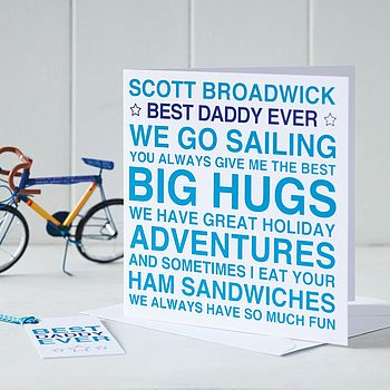 Blue Personalised 'Best Daddy Ever' Card