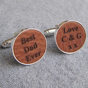 Engraved Leather Cufflinks